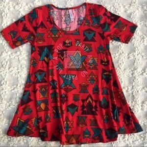 NWOT LuLaRoe Perfect T Red Aztec Pop Up Party